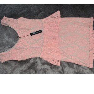 Pink lace peplum dress